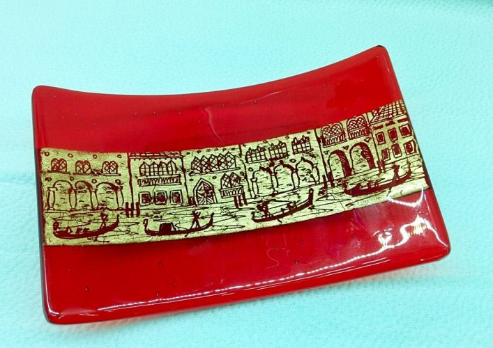 Murano Glass Red rectangular plate with golden leaf and engravings