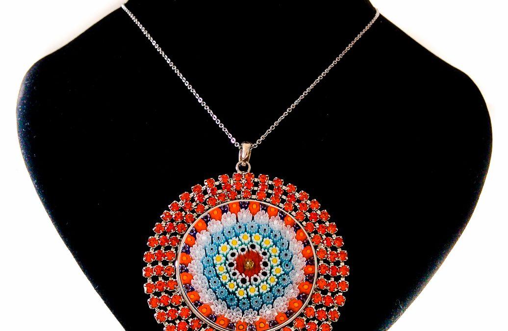 Round Red pendant with Murrina and Swarovski Crystals