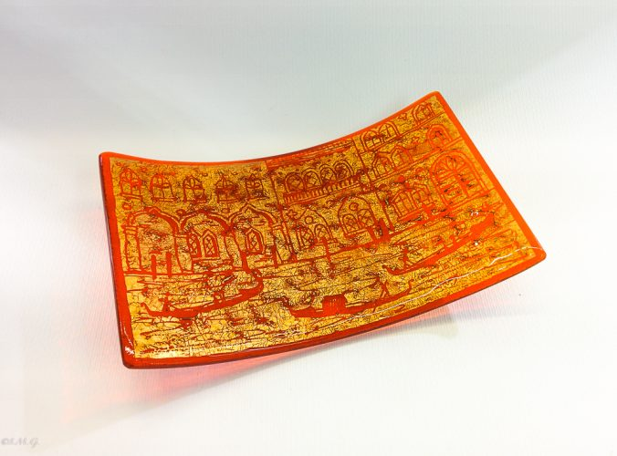 Murano Glass Orange rectangular plate with golden leaf and engravings