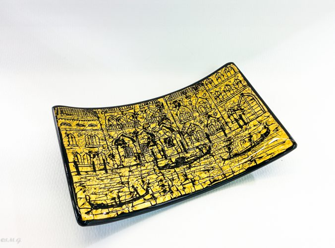 Murano Glass Black rectangular plate with golden leaf and engravings