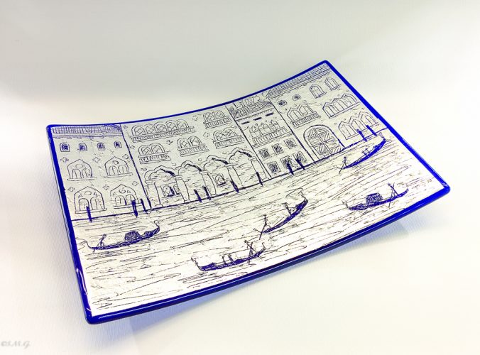 Murano Glass Blue rectangular plate with silver leaf and engravings