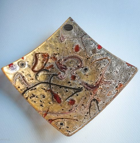 Square Murano Glass plate with gold and red