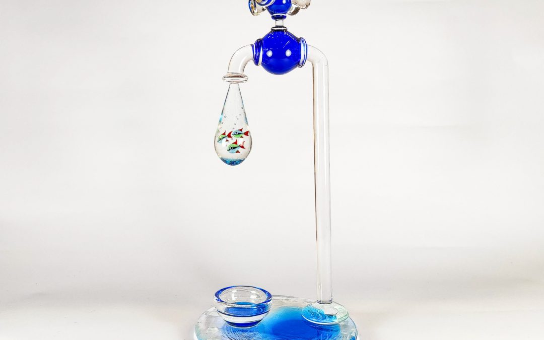 Murano Glass Watertap with 3 fish in the drop