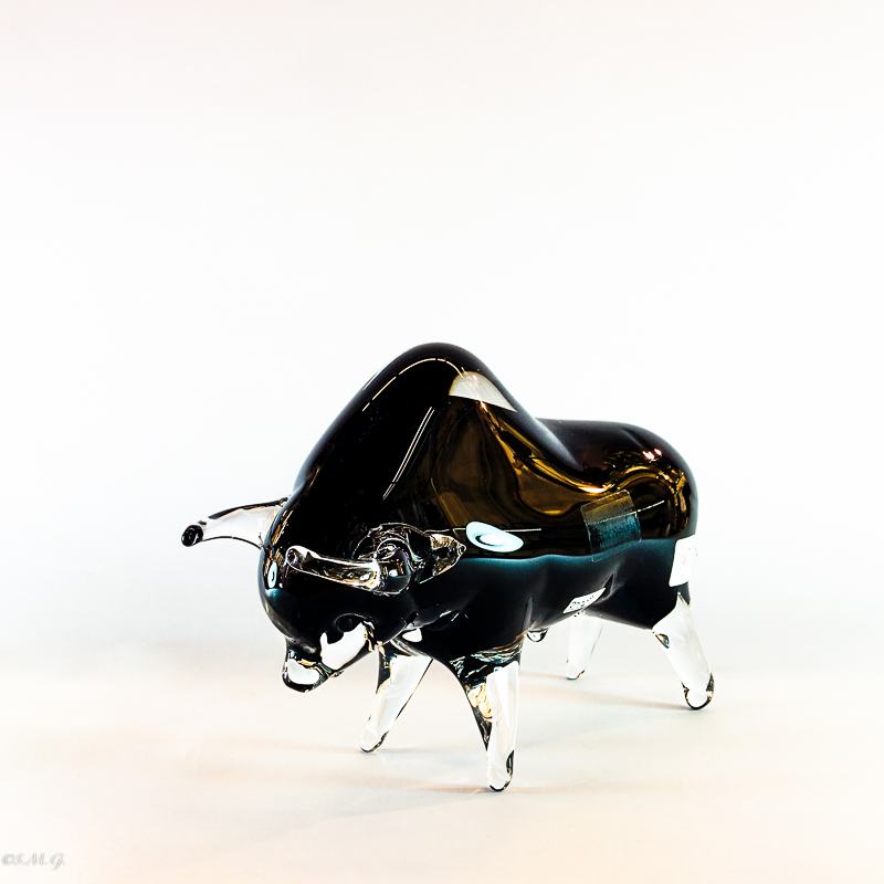 Murano Glass black bull