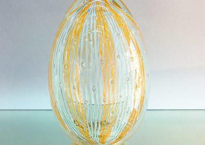 "Murano Glass white and Honey coloured egg with ""reticello"""