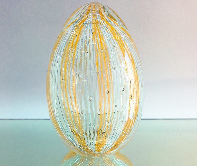 Murano Glass White and Honey egg with Reticello