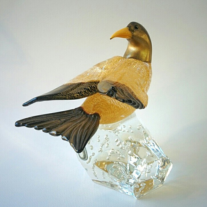 Murano Glass Black and gold bird on a glass base