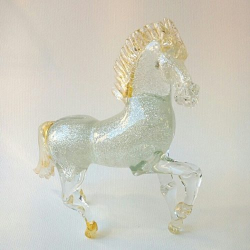 Cavallo in vetro di Murano con oro e argento