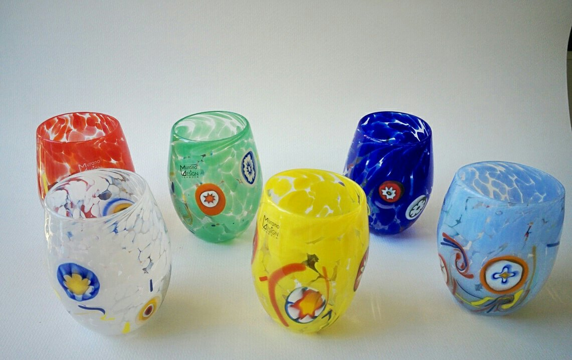 Set di bicchieri colorati in vetro di Murano con murrine