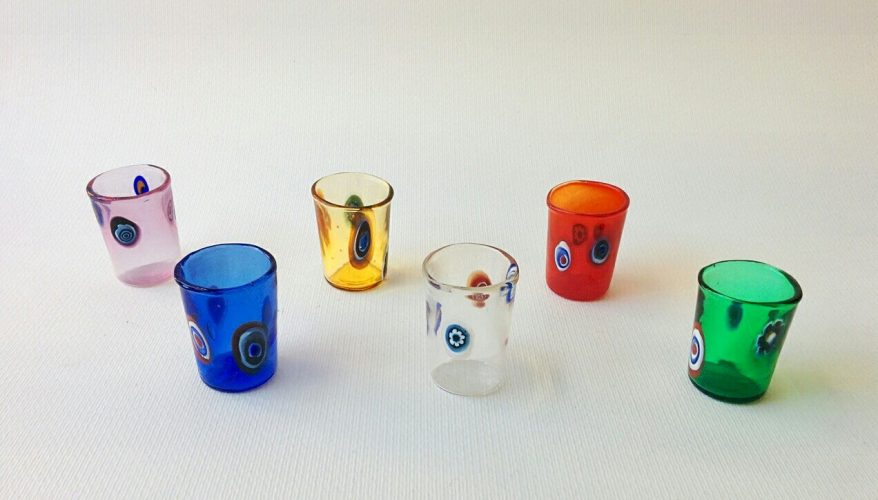 Six murano glass shotglasses in different colours