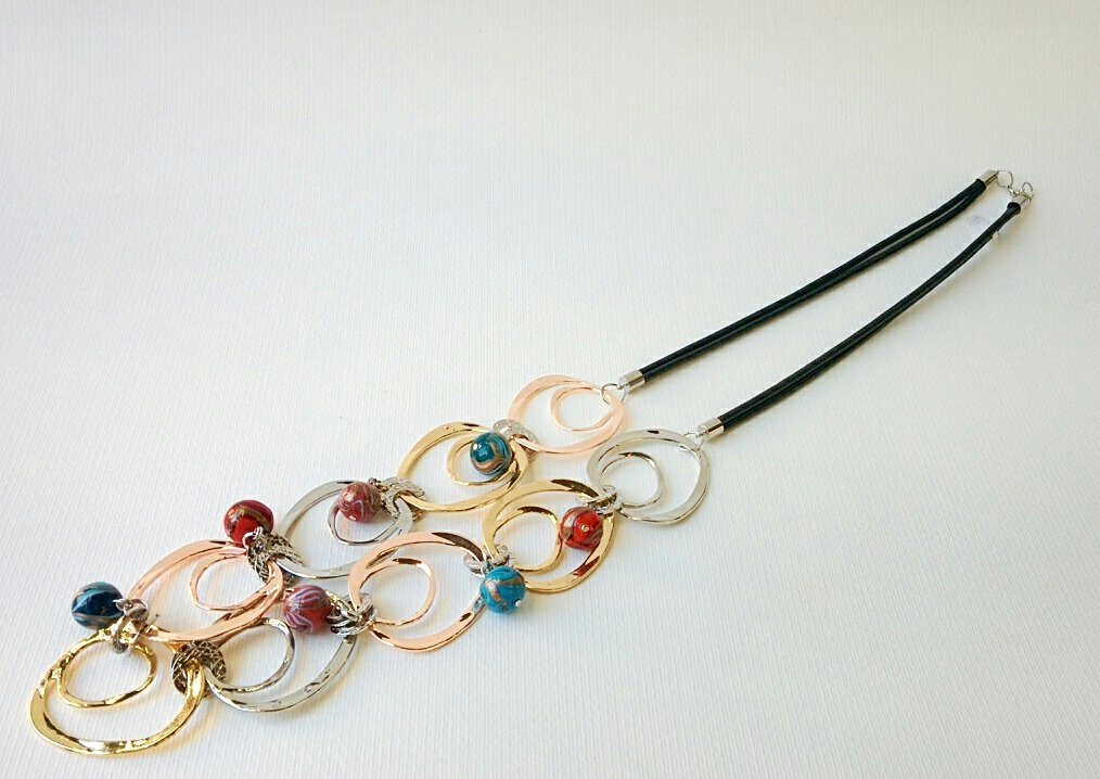 Murano Glass Necklace with Glass beads and round discs