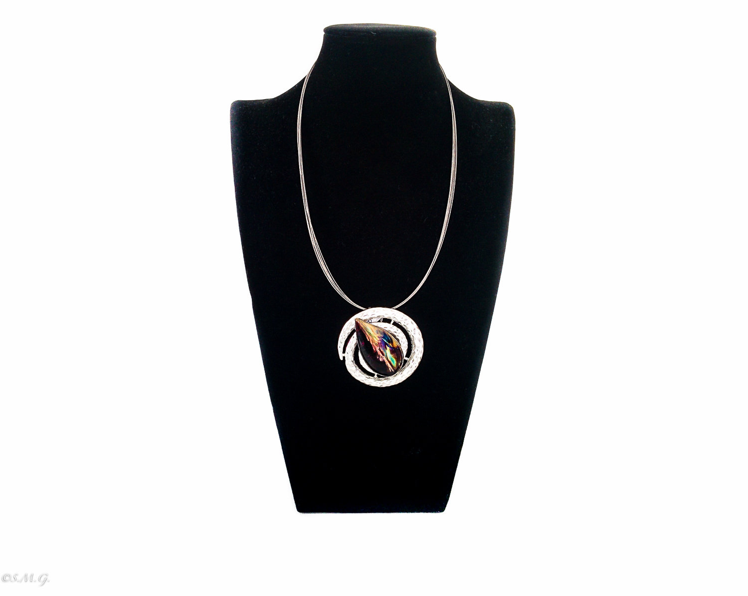 "Necklace with Murano Glass bead ""Spirals"" Collection"
