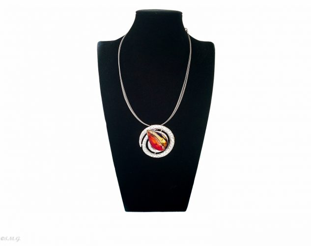 Murano glass necklace with bead attached on a spiral shaped base