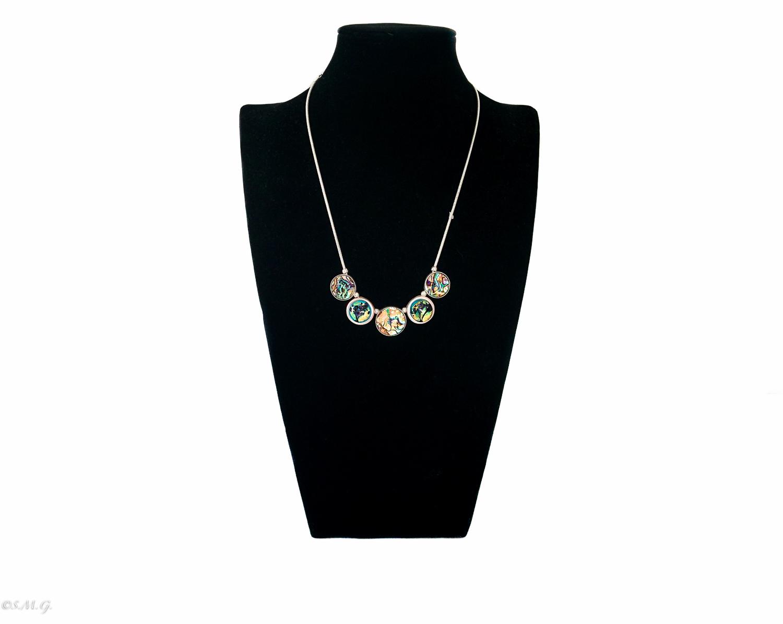 Collana con perle di vetro di Murano su catena di acciaio