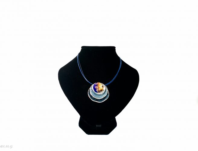 Murano Glass round pendant in black and blue colour on a round base and a steel chain