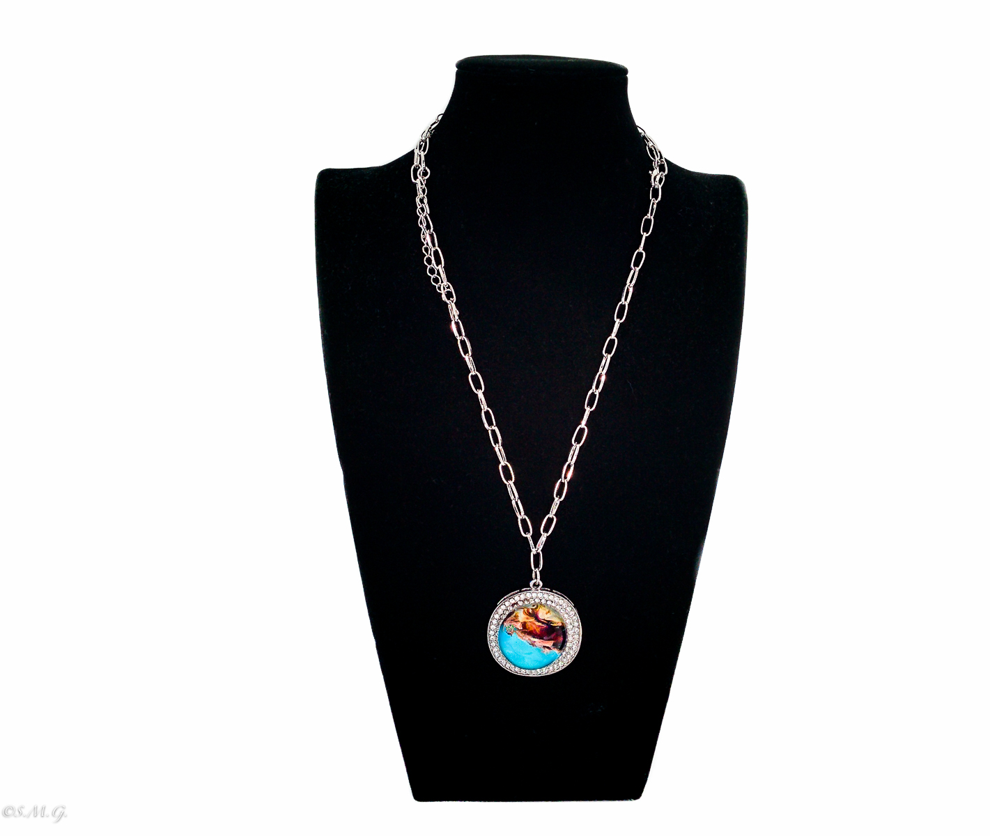 Murano glass round blue and black pendant with decorative crystal and chain