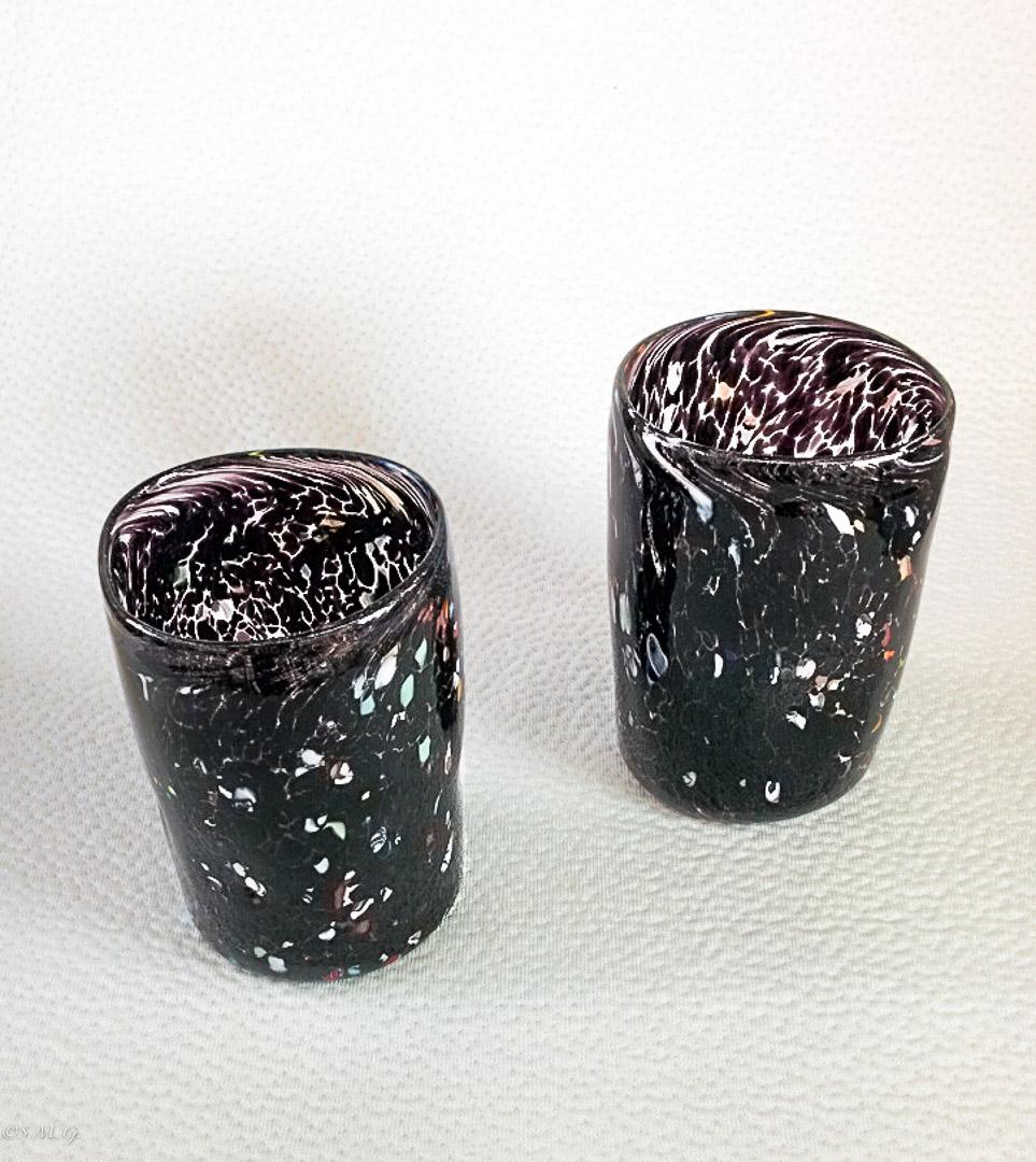 2 Murano Glass black tumblers