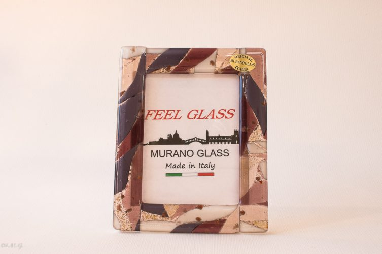 Murano Glass amethst picture frame with gold