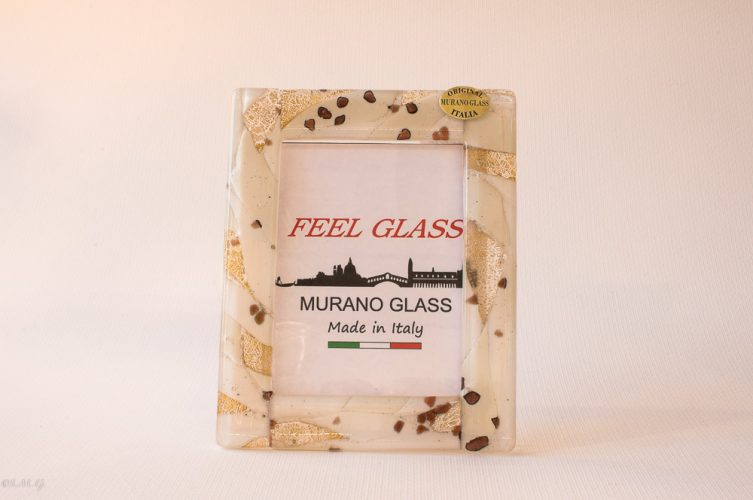 Murano Glass white picture frame with gold