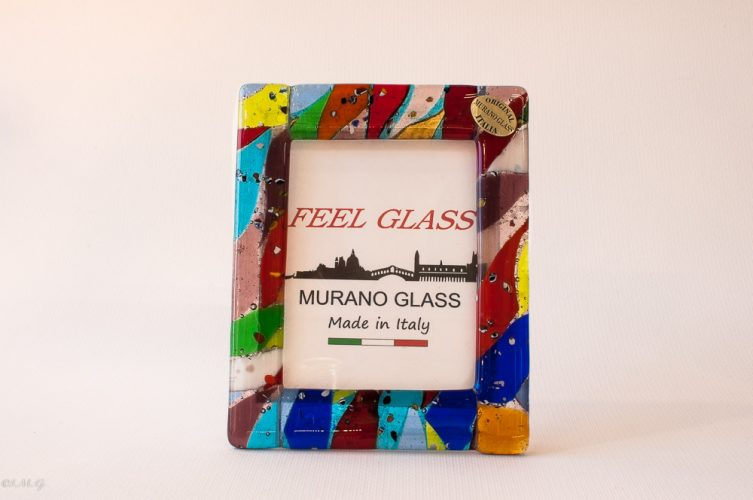 Murano Glass multicolour picture frame with gold