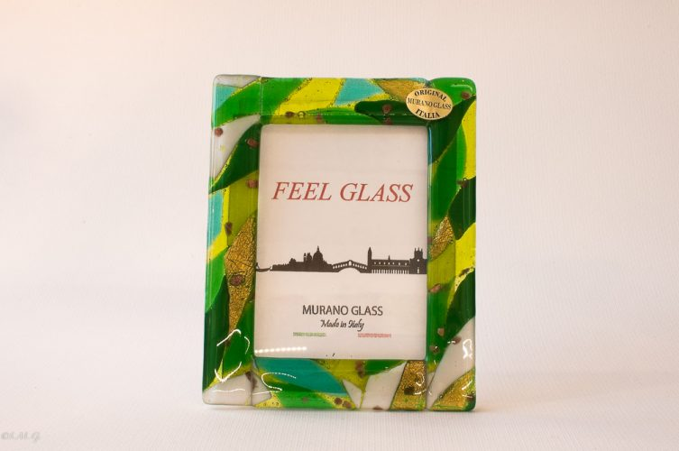 Murano Glass green picture frame with gold