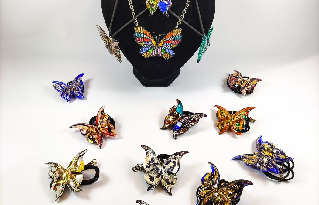 Series of pendants the in shape of a butterfly