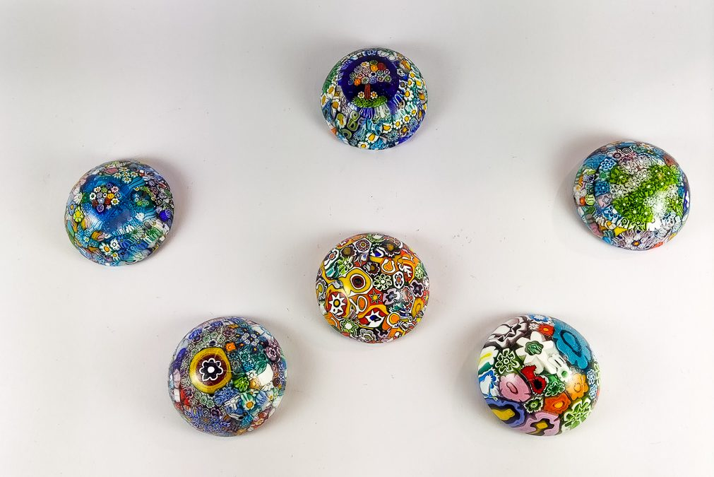Murano glass paperweights with murrina