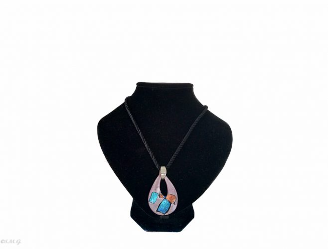 Murano glass pendant in the shape of a drop with a fabric string on a black display