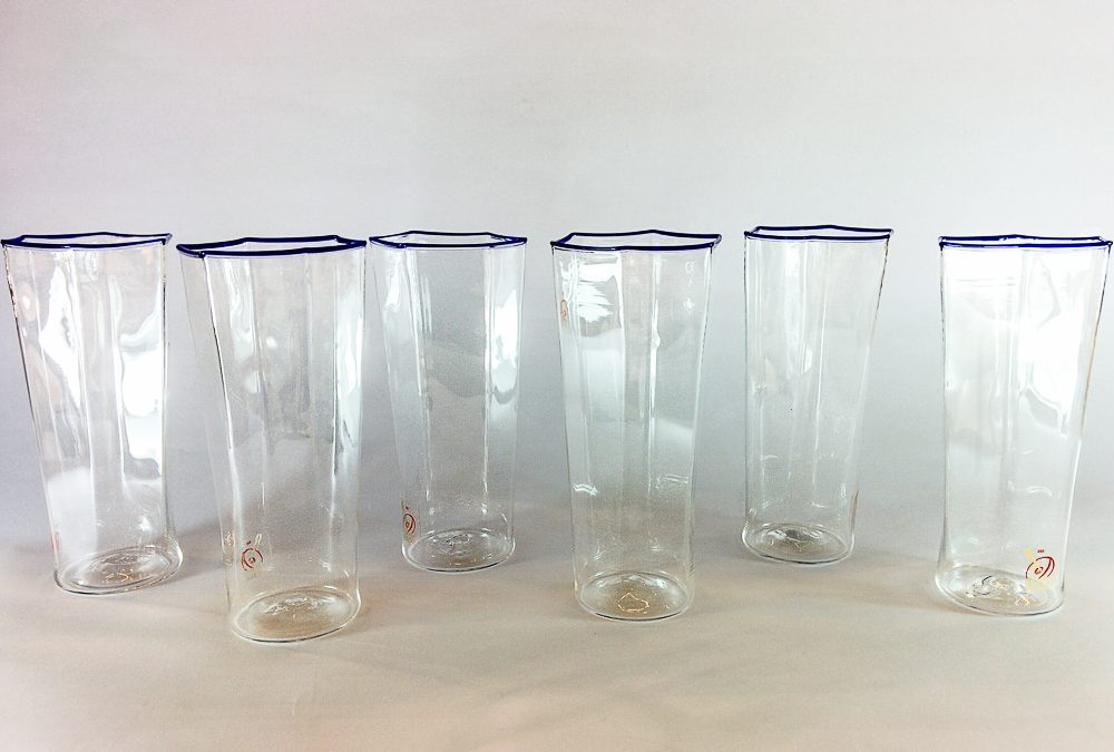 Set of 6 murano glass champagne tumblers