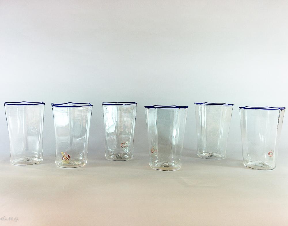 Set di bicchieri da vino in vetro di Murano