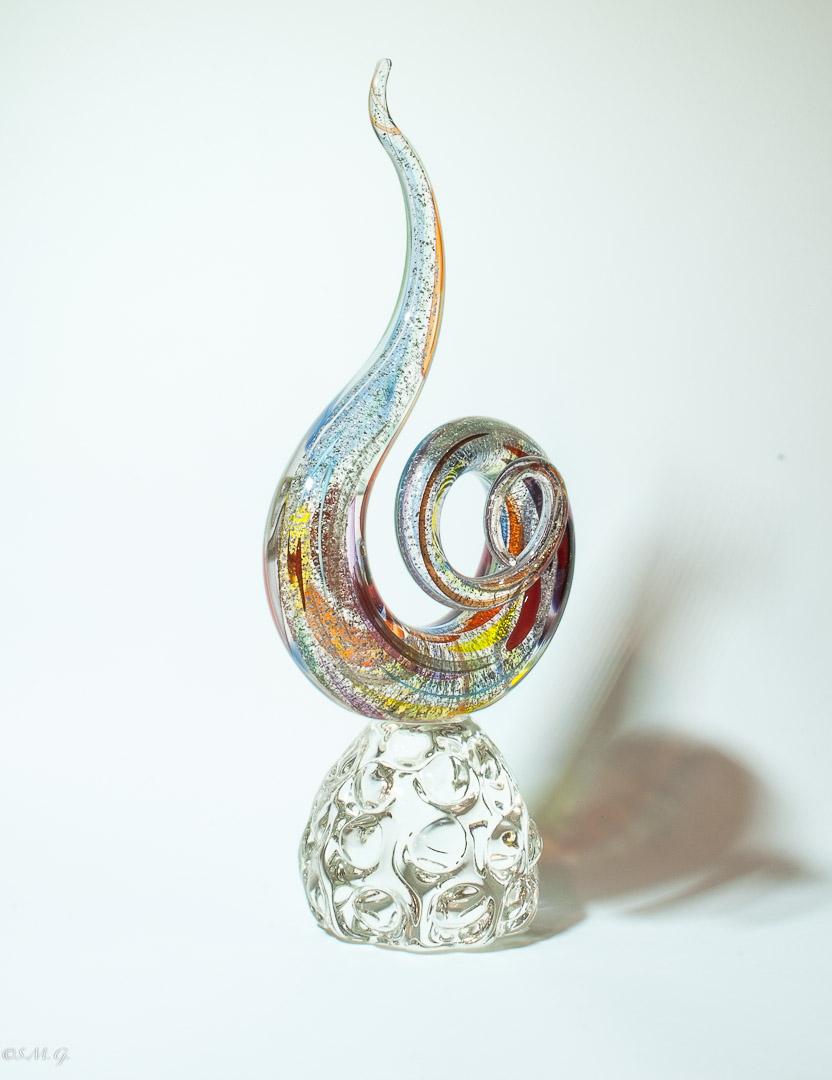Nodo in vetro di Murano su base trasparente