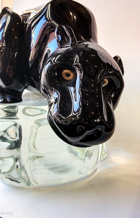 Detail of a murano glass black panther