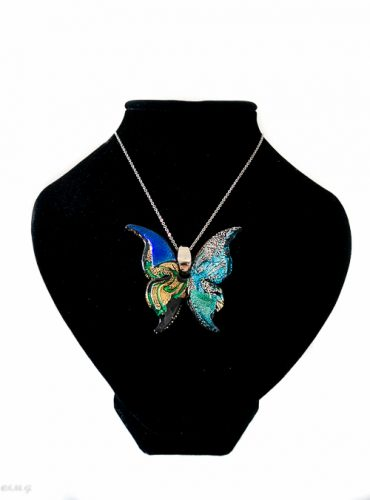 Murano Glass pendant in the shape of a butterfly on a chain