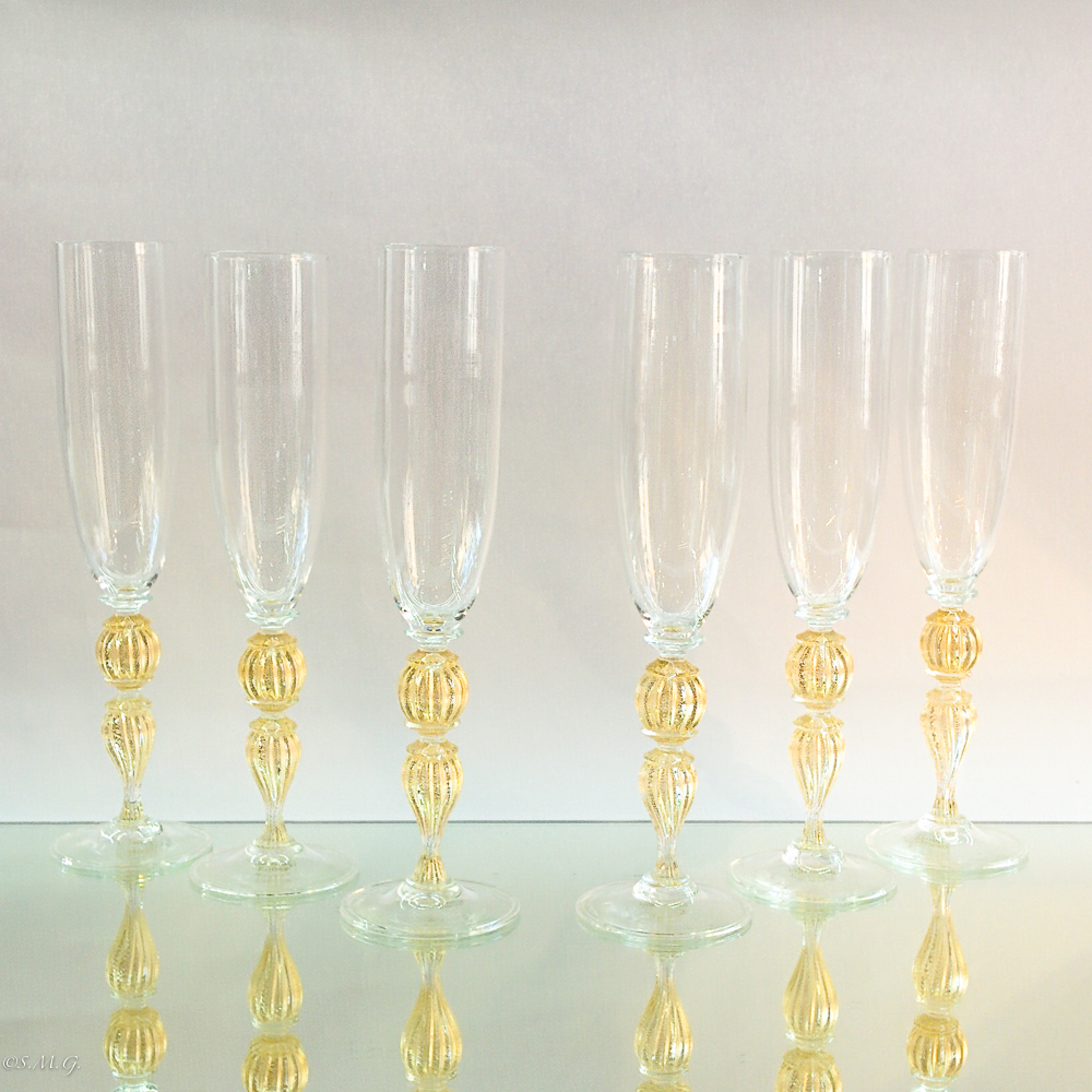 Set of 6 chalices with Murano glass and gold