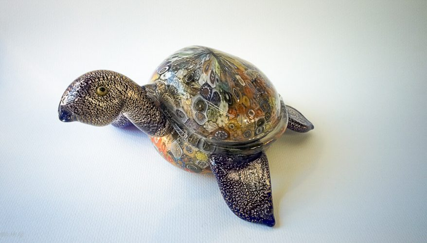 Murano Glass blue turtle with gold and murrina