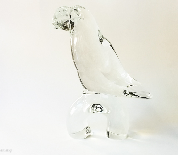 Murano glass clear tucan on a base