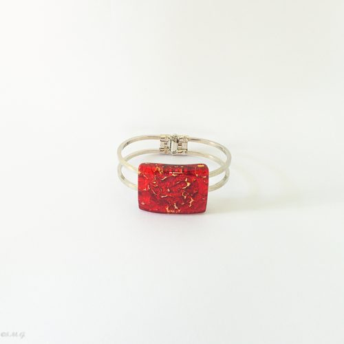 Murano Glass plate attached on a steel bangle