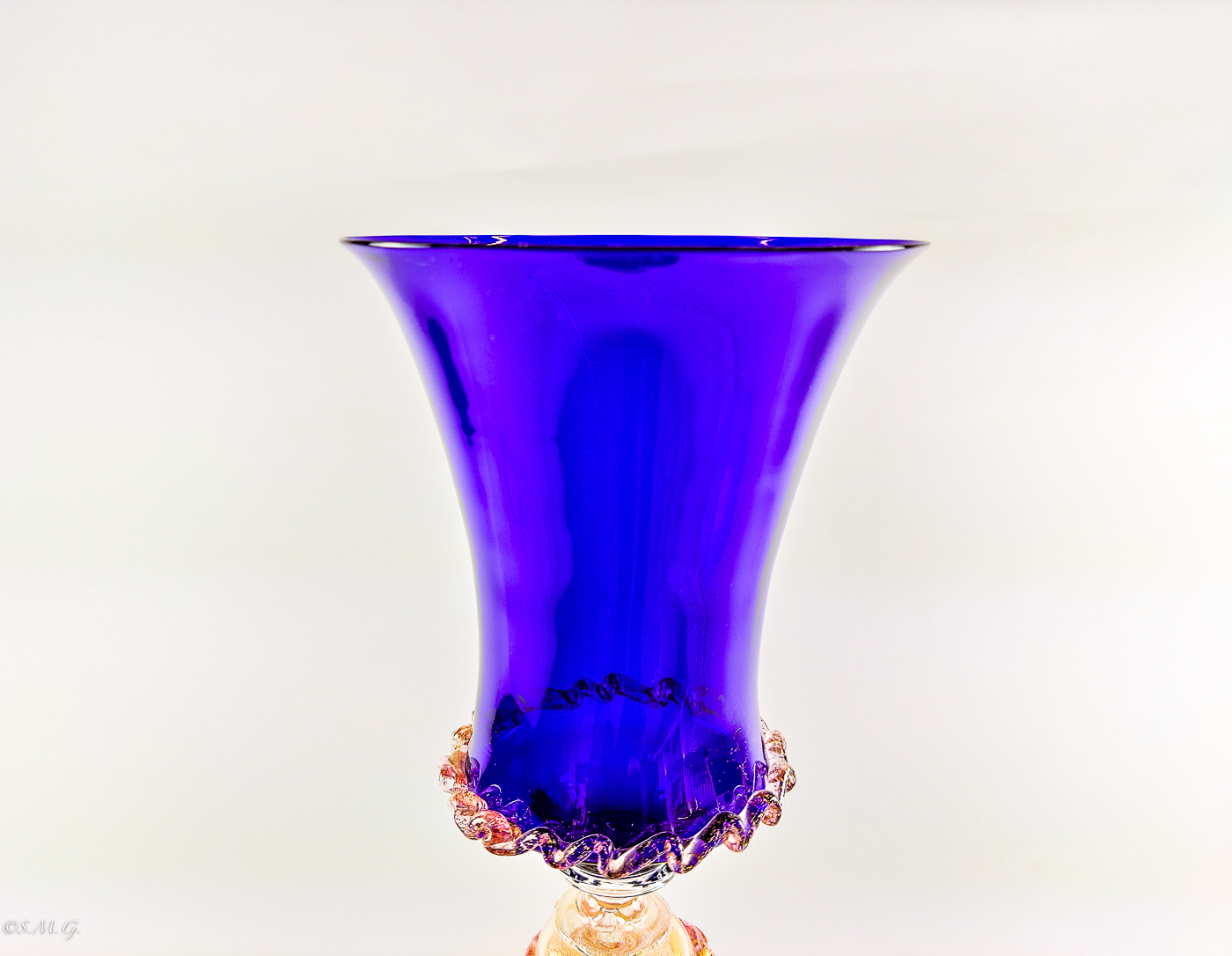 Murano Gass blue chalice with gold