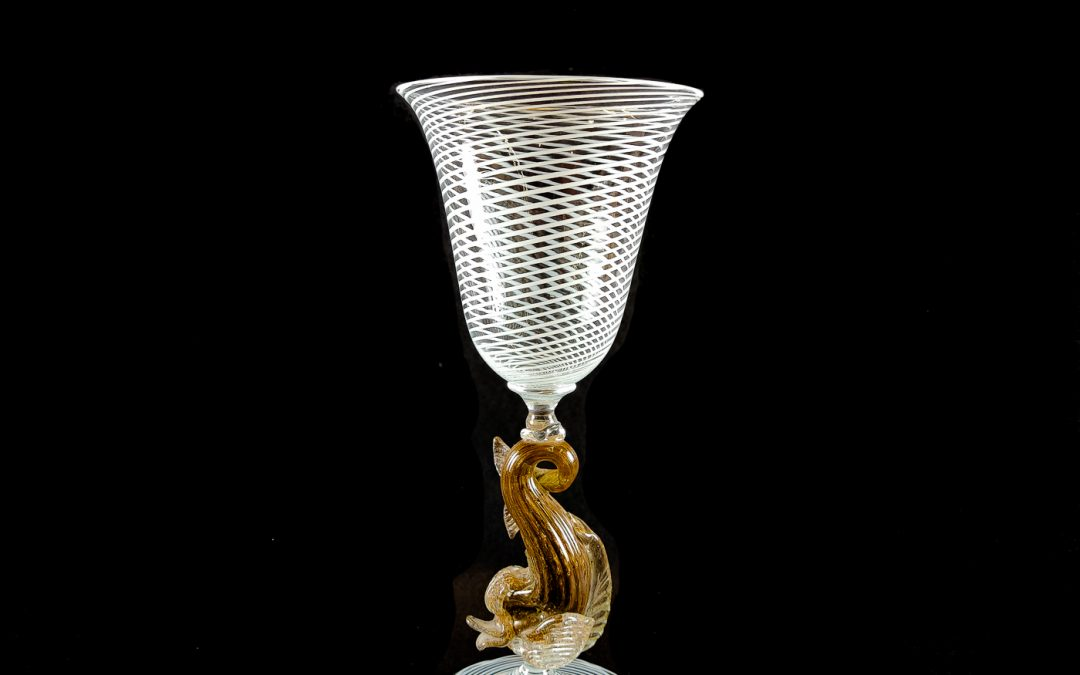 Murano Glass chalice with filigrana and dolphin shaped stem