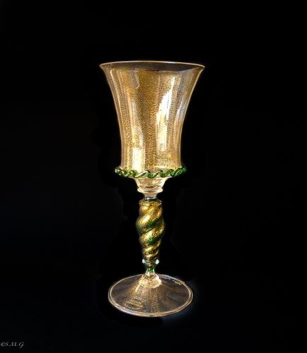 Murano Glass chalice with gold inside