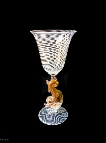 Murano glass chalice with white and gold