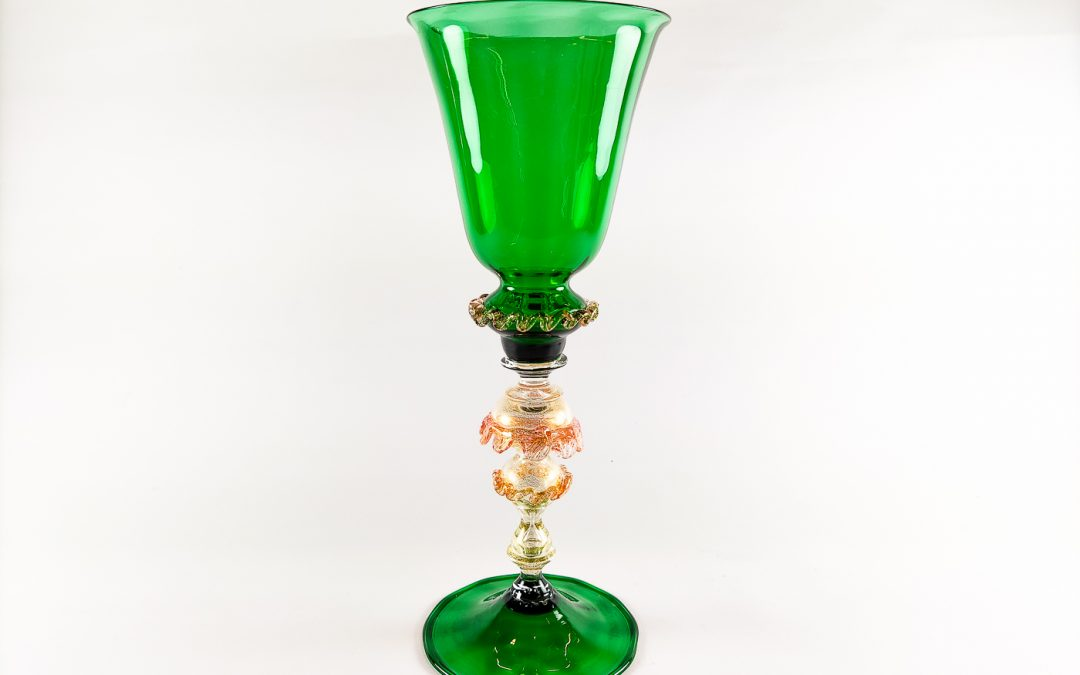 Green Murano Glass chalice with gold