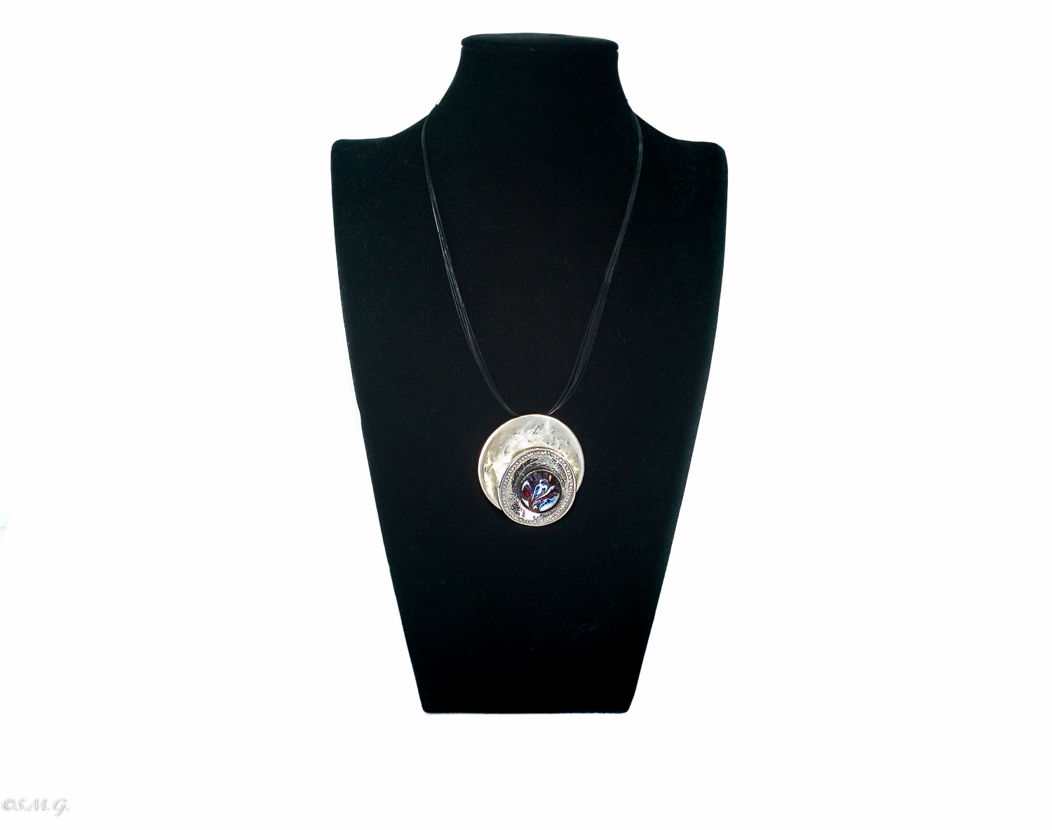 Murano glass necklace with blue pendant on a double round base with crystals on a black string