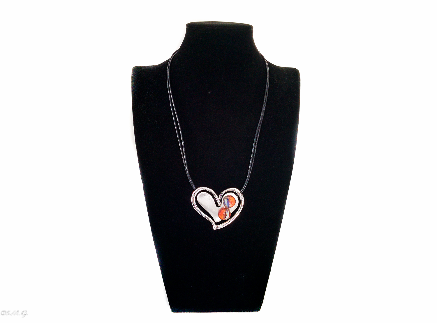 Heart shaped necklace with 2 murano glass beads
