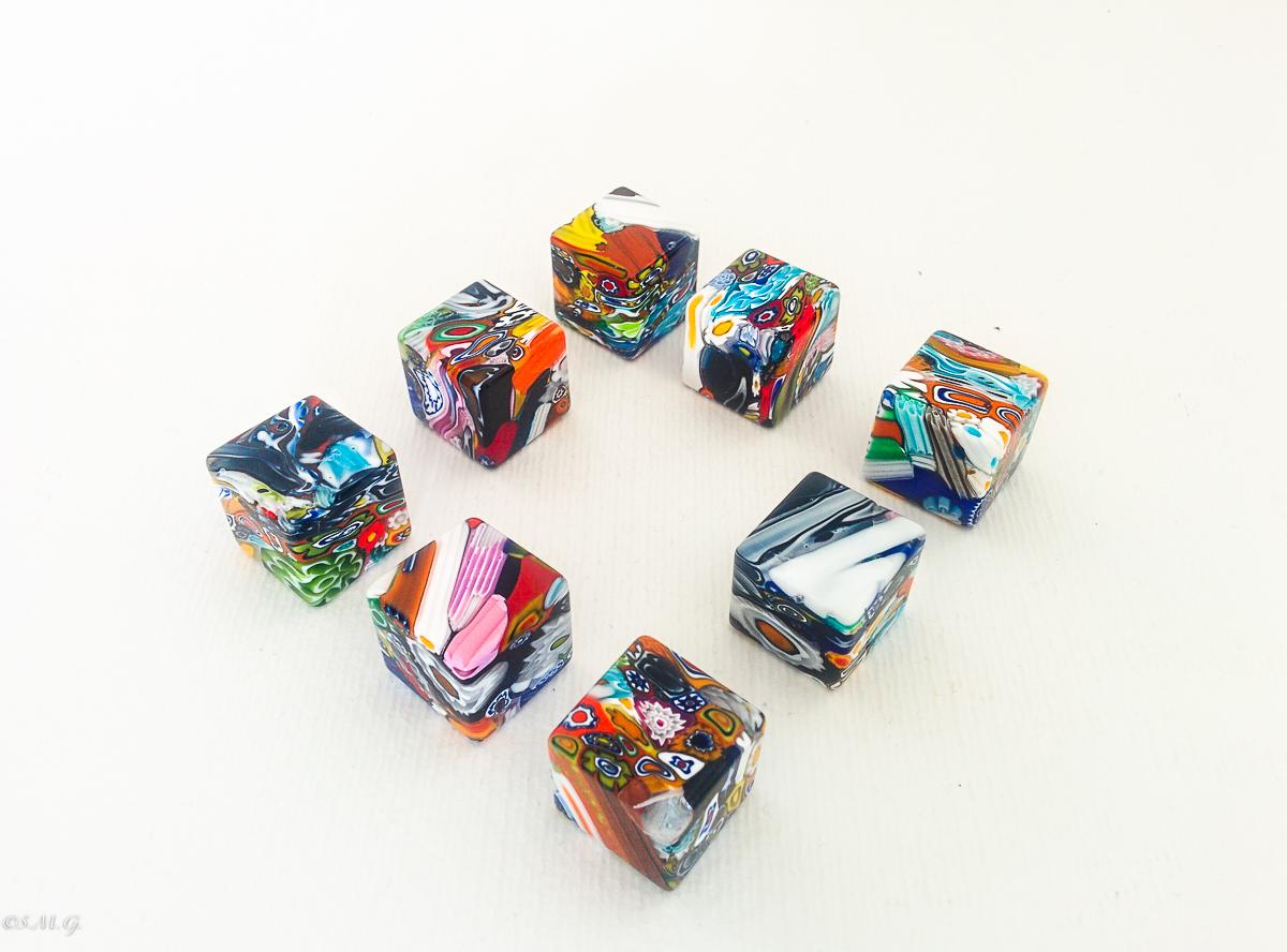 Murano glass colourful dice