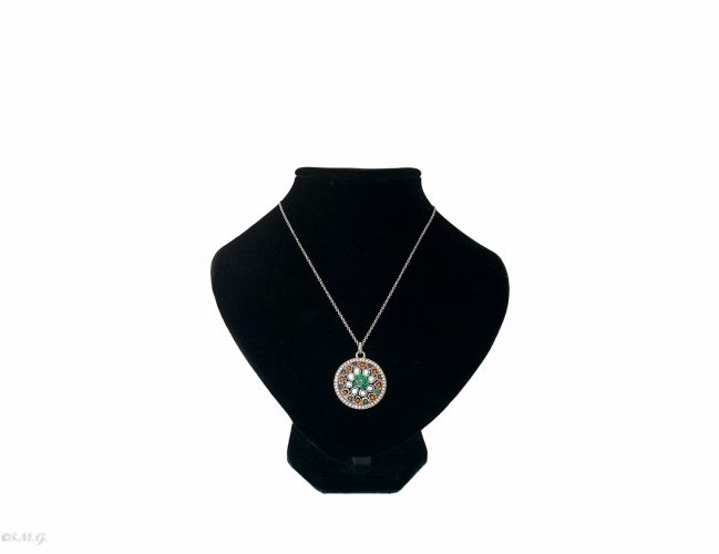 Murano glass pendant with swaroski crystals and a chain