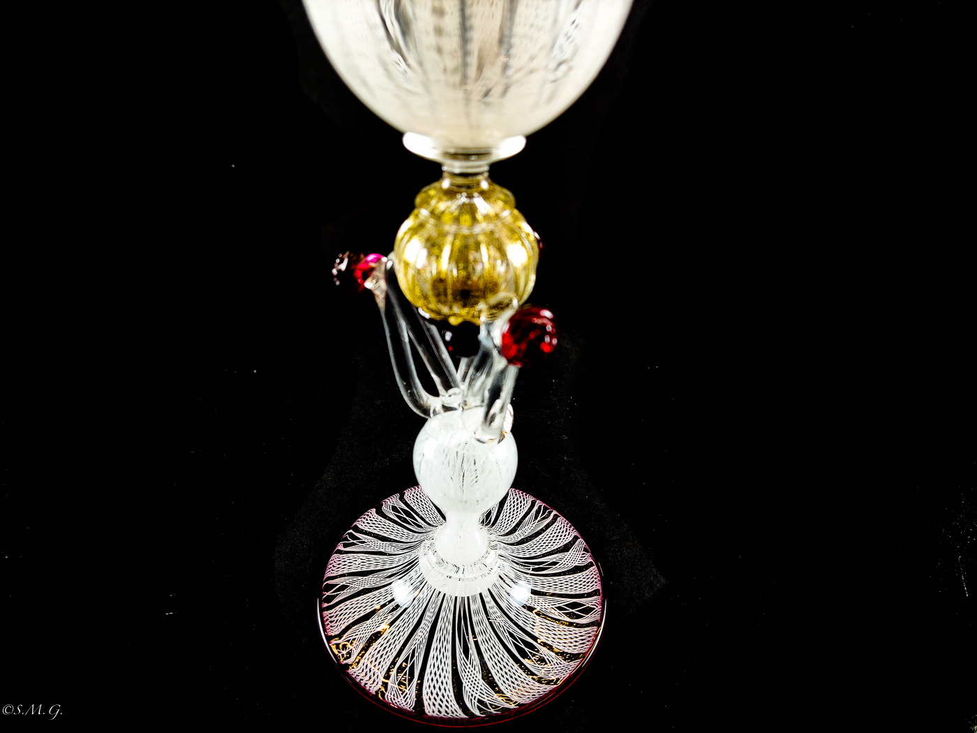 Murano Glass white chalice with red dots and gold