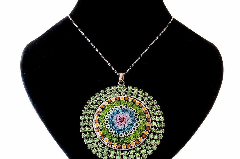 Round Green pendant with Murrina and Swarovski Crystals