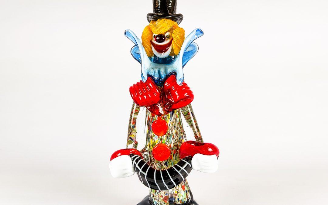 Clown piccolo in vetro di Murano con cappello nero e fisarmonica Circus 02