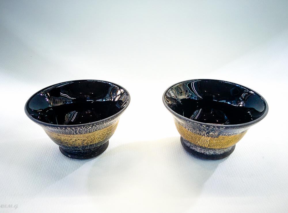 Coppia di ciotole nere in vetro di Murano con oro e argento